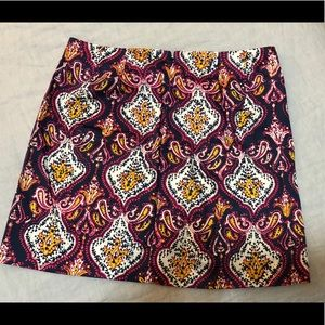 J Crew paisley mini skirt